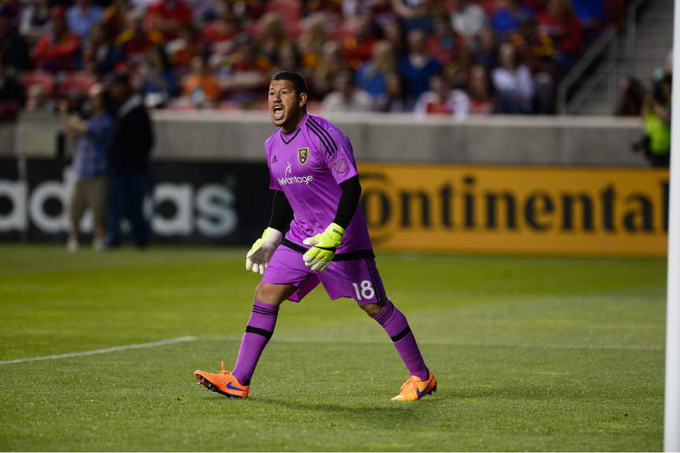 Scott Sommerdorf   |  The Salt Lake Tribune Real Salt Lake goalkeeper Nick Rimando (18) yells at the referee after a first half corner kick was thwarted. The San Jose Earthquakes led Real Salt Lake 1-0 at the half, Friday, May 1, 2015.