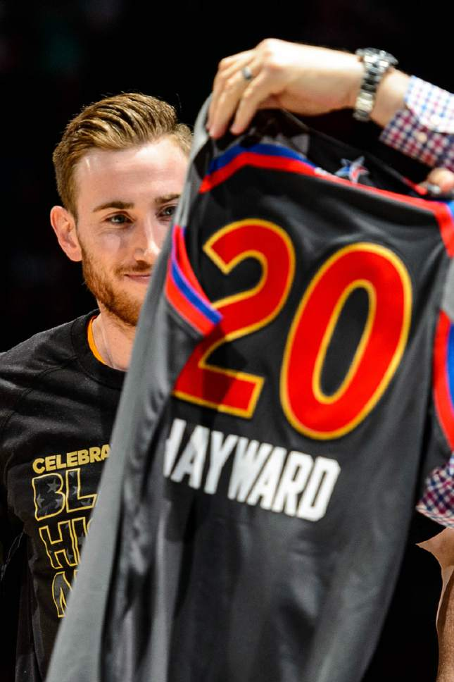 Trent Nelson  |  The Salt Lake Tribune Utah Jazz forward Gordon Hayward (20) is presented with his All-Star jersey as the Utah Jazz host the Portland Trailblazers, NBA basketball in Salt Lake City, Wednesday February 15, 2017.