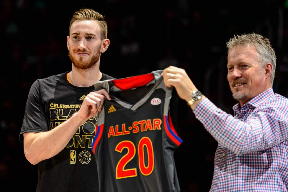 Trent Nelson  |  The Salt Lake Tribune Utah Jazz forward Gordon Hayward (20) is presented with his All-Star jersey by Greg Miller as the Utah Jazz host the Portland Trailblazers, NBA basketball in Salt Lake City, Wednesday February 15, 2017.