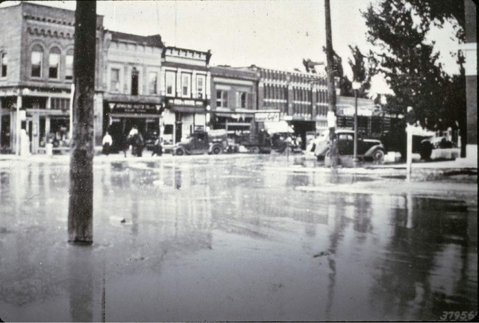 Manti floods in the early 1900s due to overgrazing.  Courtesy photo