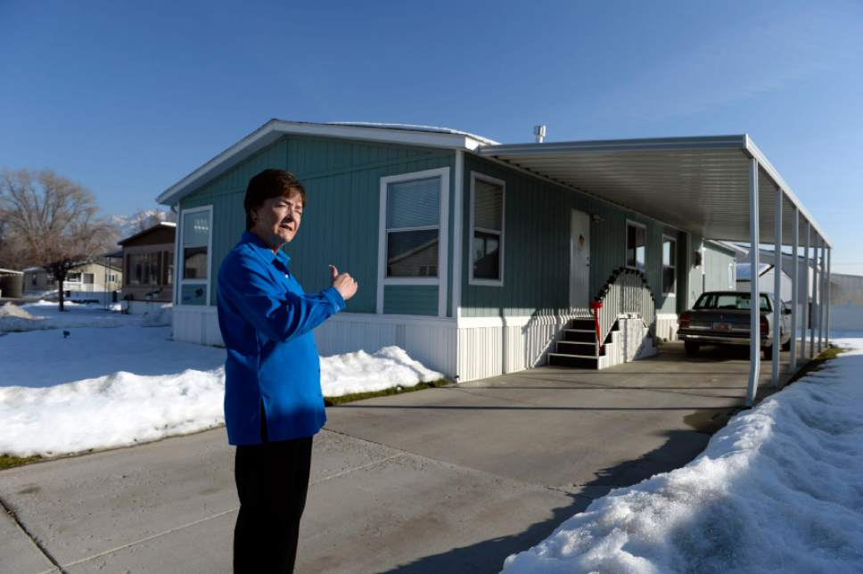 "Francisco Kjolseth  |   Tribune file photo Shirlene Stoven, 77, a 20-year resident of the Applewood Park manufactured home complex in Midvale says ""I hope this is my last home till I go in the dirt"" after finding out plans for 186 apartments to be built on the nearly 8-acres of land where she currently lives. Stoven becomes angry when people refer to her home as a mobile home and says ""there are no wheels on my manufactured home, it can't be driven away."" The people who own the 56  homes have seen their rents go up since the place was sold to Ivory Homes. According to a Midvale memorandum, the developer plans to build an apartment complex."