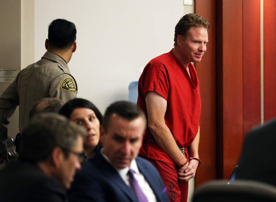 Jeremy Johnson enters the courtroom for the trial of former Utah Attorney General John Swallow at the Matheson Courthouse in Salt Lake City on Thursday, Feb. 16, 2017.