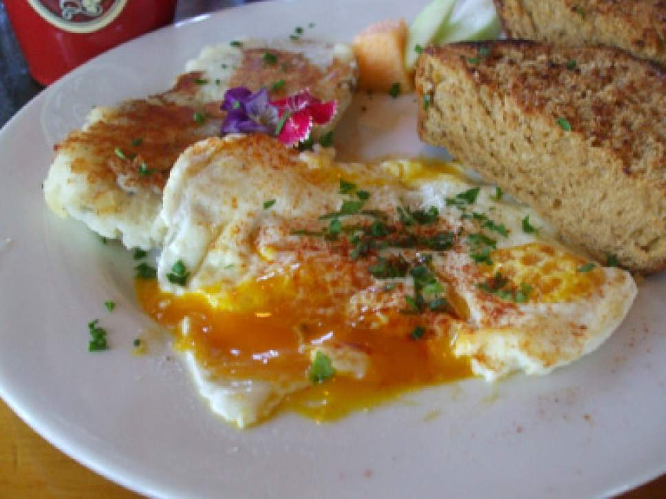 Kathy Stephenson  |  The Salt Lake Tribune   Fresh eggs from the farm -- with bright yellow yolks -- are served at Hells Backbone Grill in Boulder, Utah.
