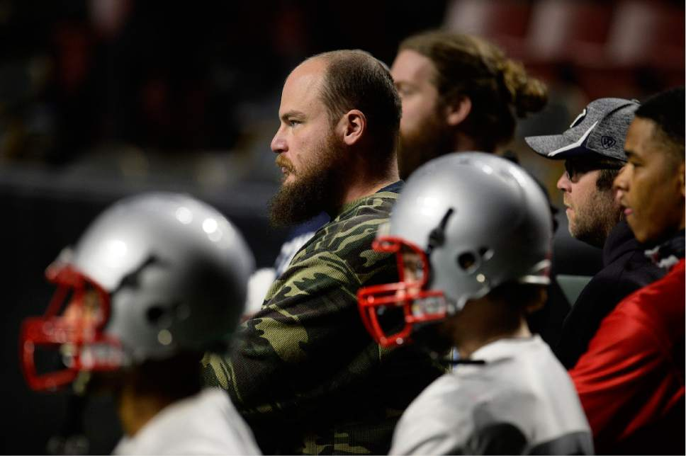 Scott Sommerdorf   |  The Salt Lake Tribune   Salt Lake Screaming Eagles head coach William McCarthy watches practice at the Maverick Center, Wednesday, February 15, 2017. The Screaming Eagles are a new arena football team that relies on fan voting for everything from hiring the team's coaches to roster cuts to calling each play of the game.