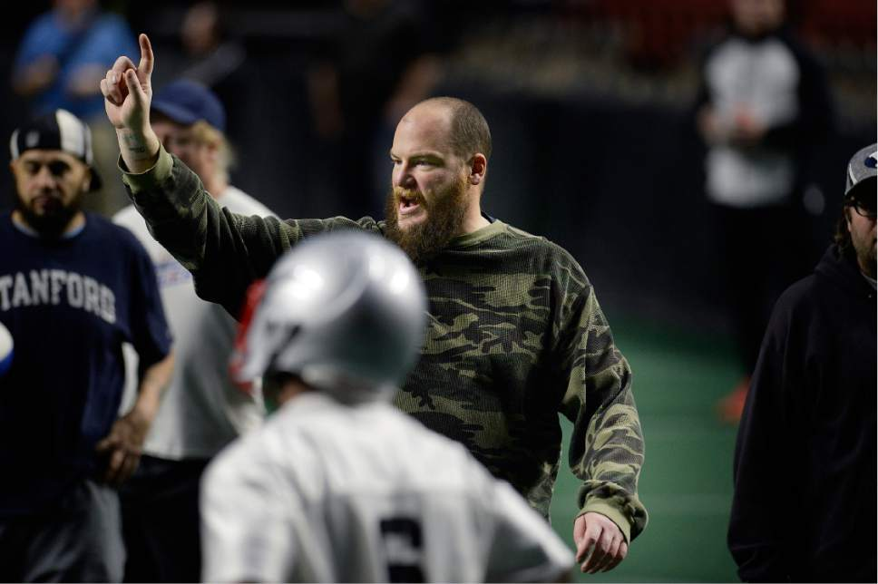 Scott Sommerdorf   |  The Salt Lake Tribune   Salt Lake Screaming Eagles head coach William McCarthy shouts some instructions during practice at the Maverick Center, Wednesday, February 15, 2017. The Screaming Eagles are a new arena football team that relies on fan voting for everything from hiring the team's coaches to roster cuts to calling each play of the game.