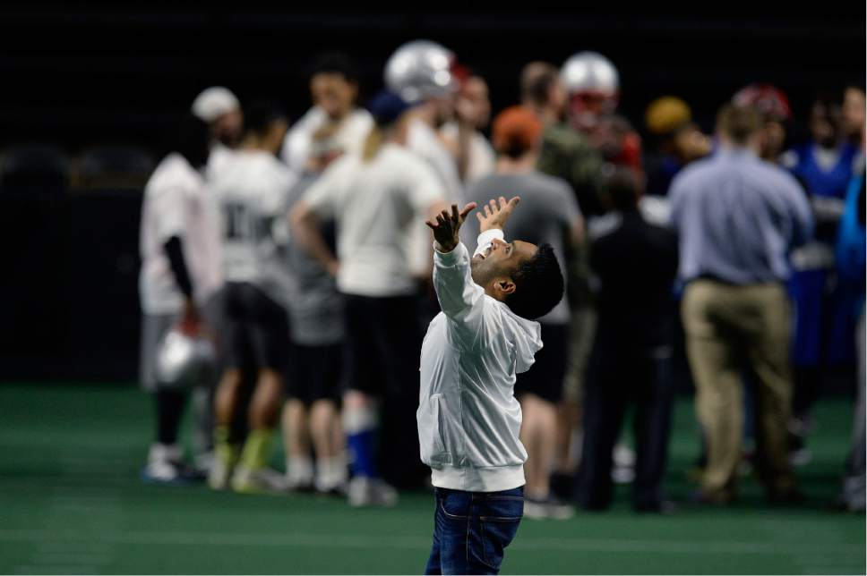 Scott Sommerdorf   |  The Salt Lake Tribune   Vivek Jain, co-owner and CFO of the Salt Lake Screaming Eagles strikes a playful pose as he asked fellow co-owner Ray Austin make a photo of him on the field as they watched the team in practice at The Maverick Center, Wednesday, February 15, 2017.