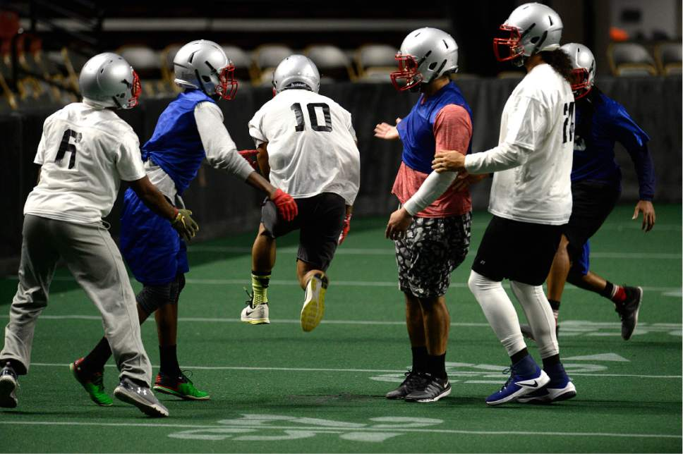 Scott Sommerdorf   |  The Salt Lake Tribune   The Salt Lake Screaming Eagles in practice at The Maverick Center, Wednesday, February 15, 2017. The Screaming Eagles are a new arena football team that relies on fan voting for everything from hiring the team's coaches to roster cuts to calling each play of the game.