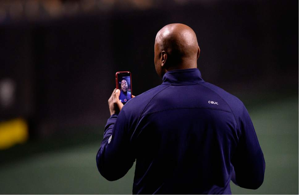 Scott Sommerdorf   |  The Salt Lake Tribune   Ray Austin, Utah Screaming Eagles co-owner and former cornerback for the New York Jets and Chicago Bears speaks on his cellphone as the Screaming Eagles practice at The Maverick Center, Wednesday, February 15, 2017.