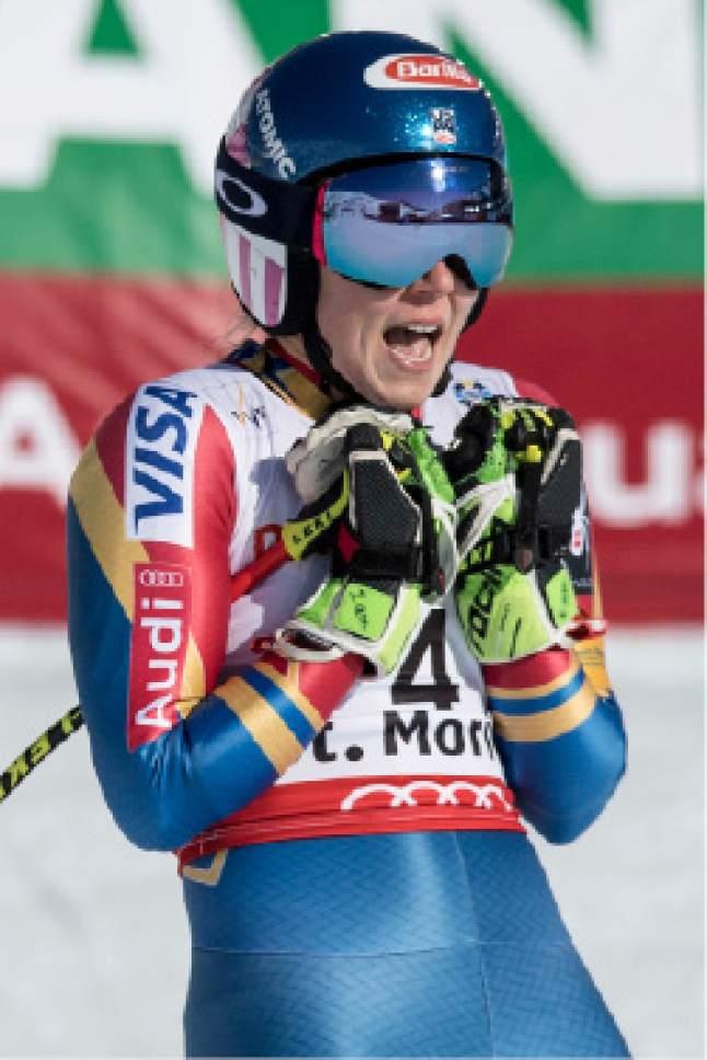 Silver medalist Mikaela Shiffrin of the US celebrates after the women's Giant Slalom race at the 2017 Alpine Skiing World Championships in St. Moritz, Switzerland, Thursday, Feb. 16, 2017. (Peter Schneider/Keystone via AP)
