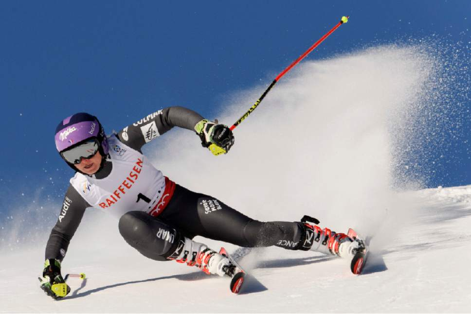Tessa Worley, of France, competes during the first run of the women's Giant Slalom race at the 2017 Alpine Skiing World Championships in St. Moritz, Switzerland, Thursday, Feb, 16, 2017. (Gian Ehrenzeller/Keystone via AP)