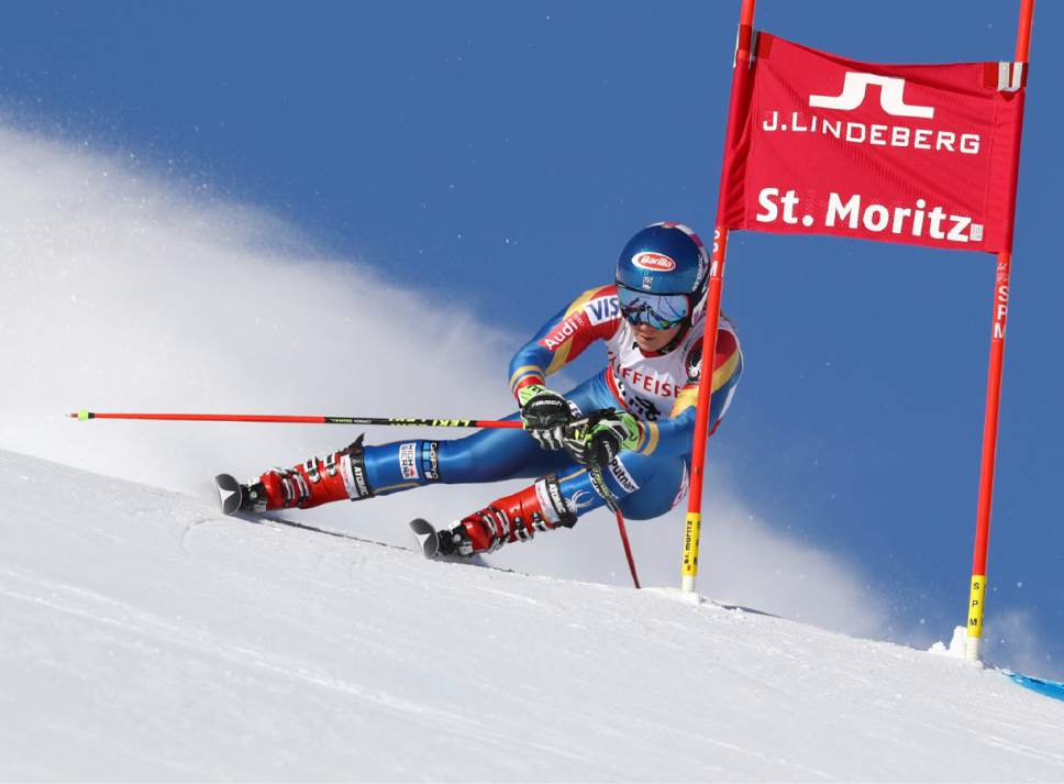 United States's Mikaela Shiffrin competes during a women's giant slalom, at the alpine ski World Championships, in St. Moritz, Switzerland, Thursday, Feb. 16, 2017. (AP Photo/Alessandro Trovati)