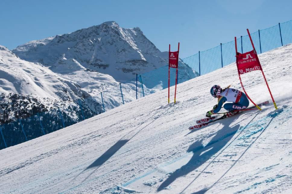 Mikaela Shiffrin of the US competes during the second run of the women's Giant Slalom race at the 2017 Alpine Skiing World Championships in St. Moritz, Switzerland, Thursday, Feb. 16, 2017. (Jean-Christophe Bott/Keystone via AP)