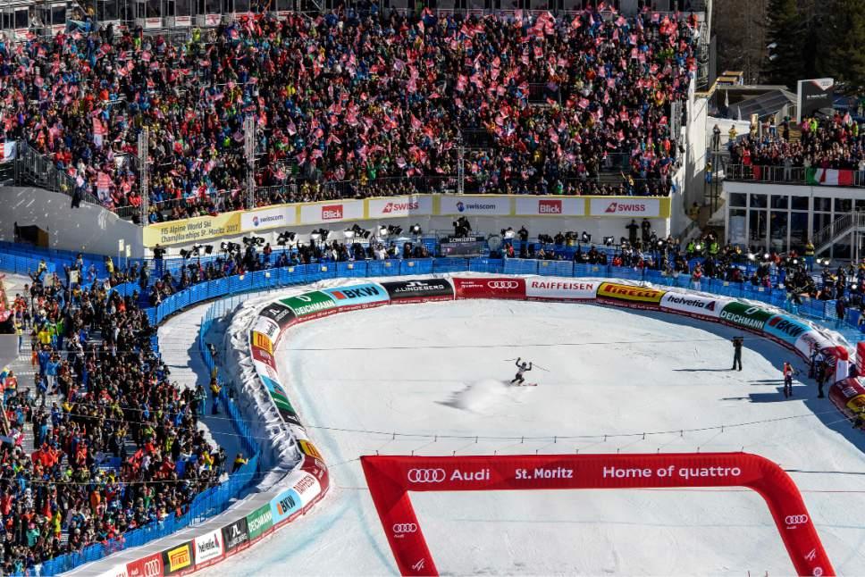Winner Tessa Worley of France  reacts in the finish area during the second run of the women's Giant Slalom race at the 2017 Alpine Skiing World Championships in St. Moritz, Switzerland, Thursday, Feb. 16, 2017. (Jean-Christophe Bott/Keystone via AP)