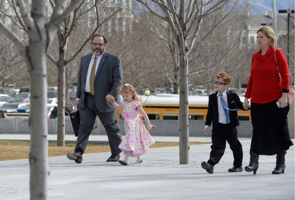 Scott Sommerdorf   |  The Salt Lake Tribune   Real estate investment guru Rick Koerber arrives with his family to Federal Courthouse in Salt Lake City for his initial appearance on a new indictment for allegedly operating a $100 million Ponzi scheme, Thursday, February 16, 2017.