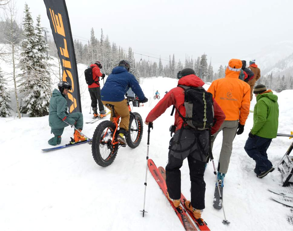 Steve Griffin / The Salt Lake Tribune  Skis, boots, biddings bikes and snow shoes were just a few of the items available available testing during the Outdoor Retailer demo day at Solitude in Salt Lake City Monday January 9, 2017.