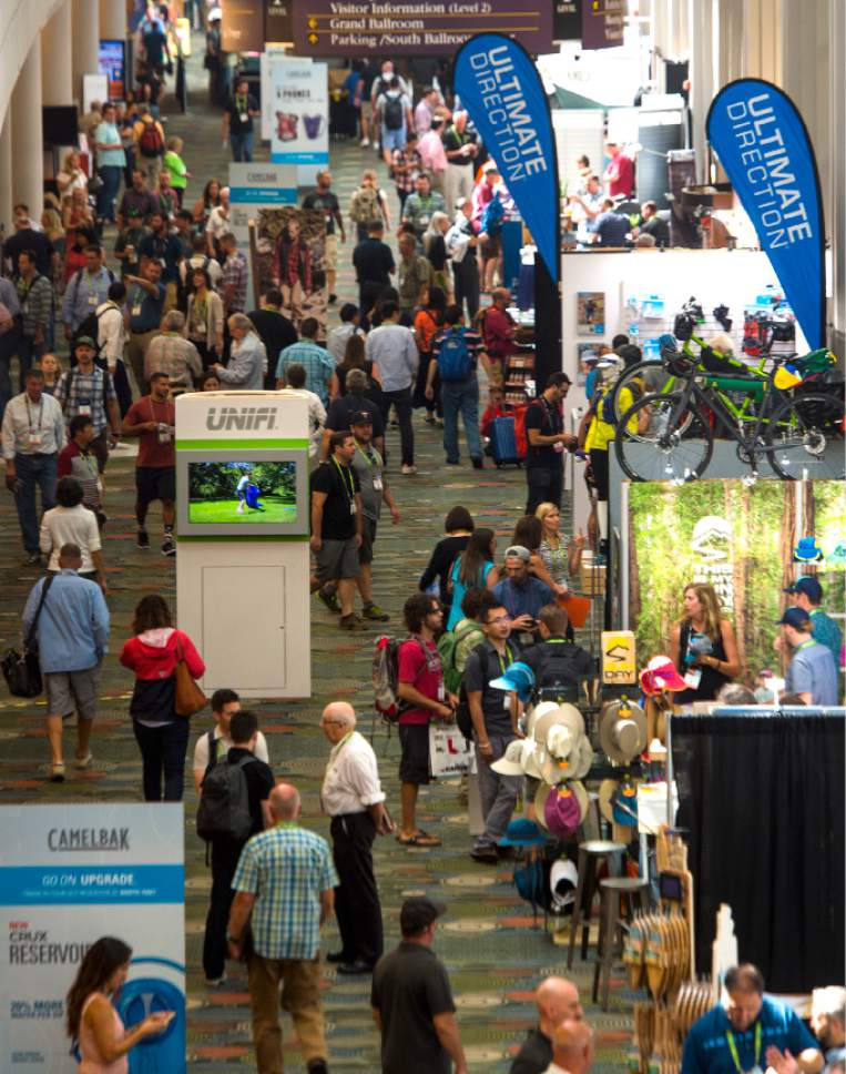 Leah Hogsten  |  The Salt Lake Tribune Opening day of the Outdoor Retailer Summer Market trade show for outdoor industry's manufacturers and retail buyers, August 3, 2016, at the Salt Palace Convention Center.