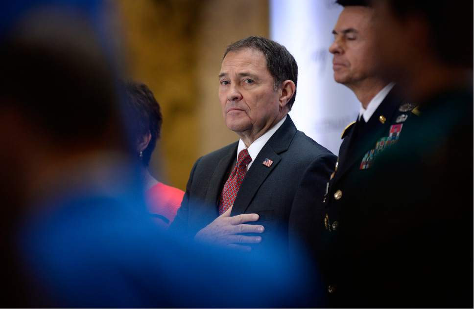 Scott Sommerdorf   |  The Salt Lake Tribune   Utah Governor Gary R. Herbert stands at attention during the presentation of the colors at the State of Utah's Inaugural Ceremony in the Capitol rotunda, Wednesday, January 4, 2017.