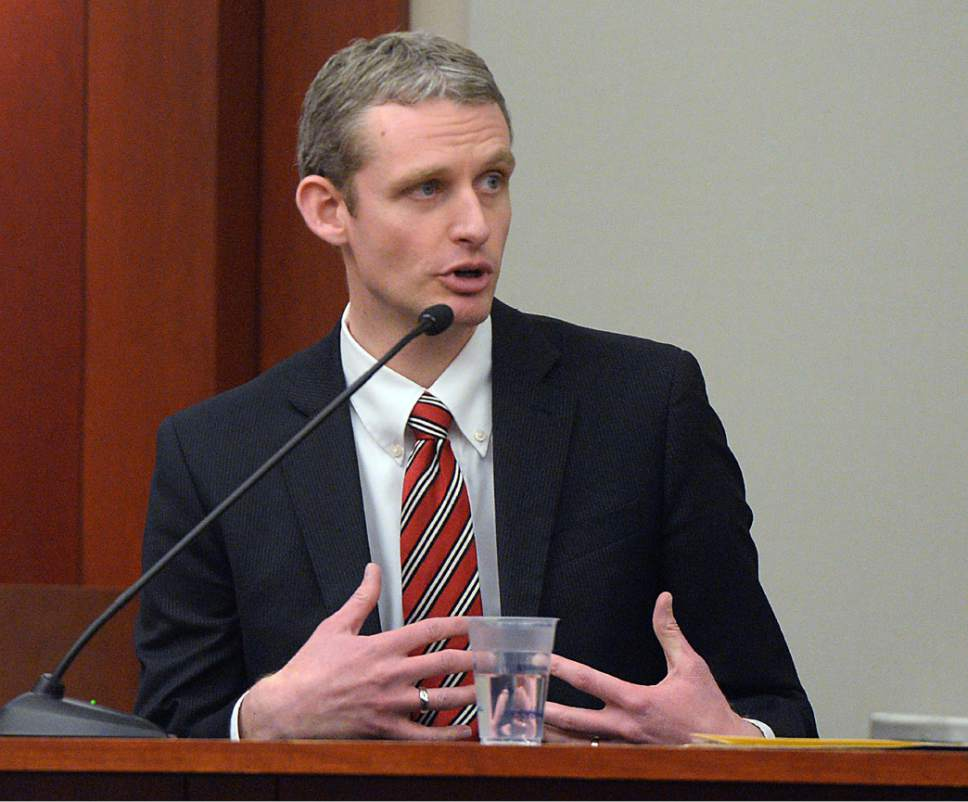 Al Hartmann     The Salt Lake Tribune Daniel O'Bannon, director, Utah Division of Consumer Protection testifies at John Swallow's public corruption trial in Salt Lake City Wed. Feb. 15.