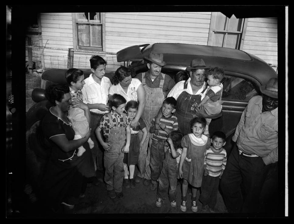 photo courtesy Utah Historical Society  Coal miners with their families in Price, Utah, May 7, 1954.