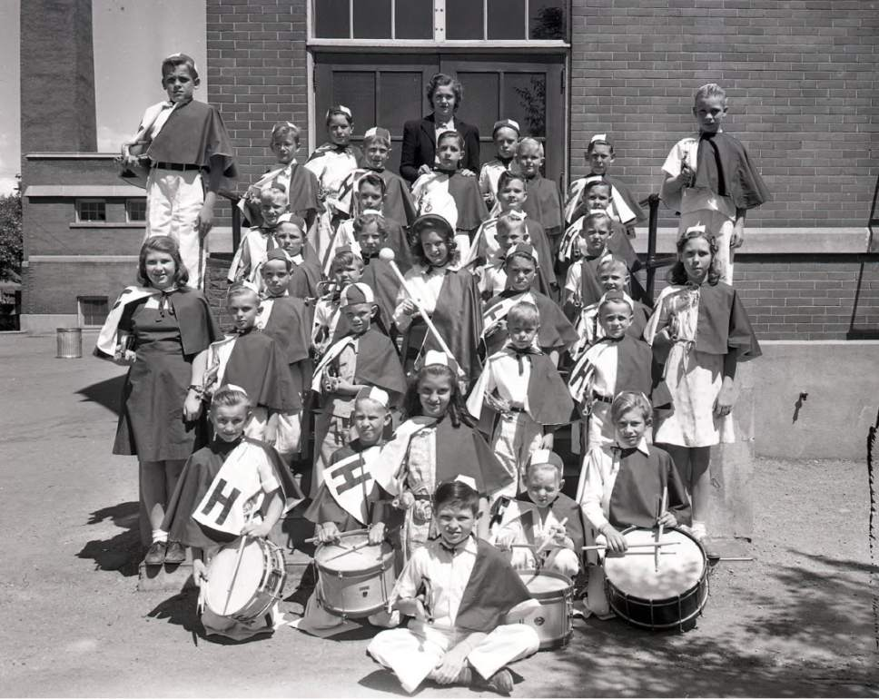 photo courtesy Utah Historical Society  Children of the Drum and Bugle Corps at Hawthorne Elementary in Salt Lake City on June 5, 1941.