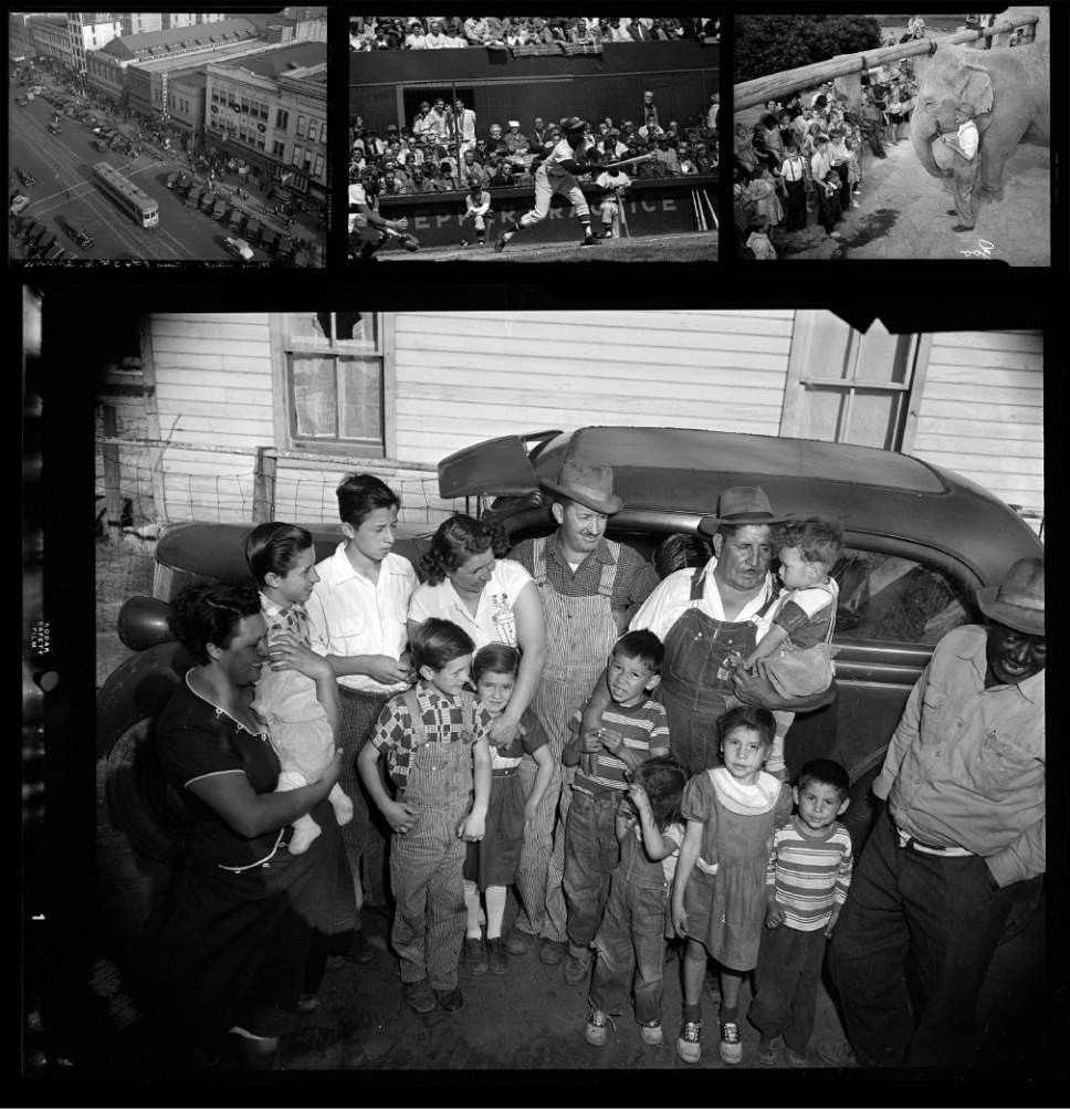 Photos courtesy of Utah Historical Society Top row, from left: Downtown Salt Lake City in 1935; Hank Aaron at bat as the Milwaukee Braves play the Salt Lake Bees on April 12, 1964; and Princess Alice at the Hogle Zoo in an undated photo.  Main image: Coal miners with their families in Price, Utah, May 7, 1954.