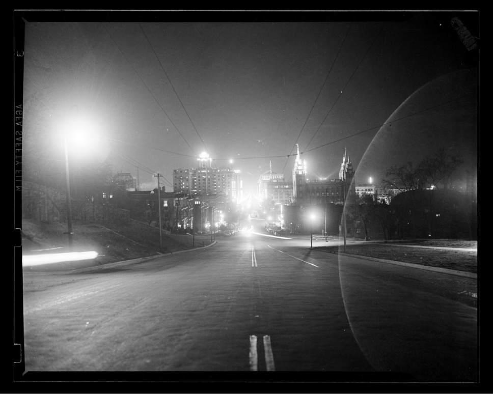 photo courtesy Utah Historical Society  Downtown Salt Lake City in 1936.