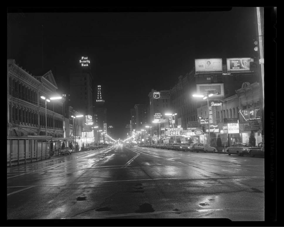 Courtesyof  Utah Historical Society Downtown Salt Lake City in 1961.