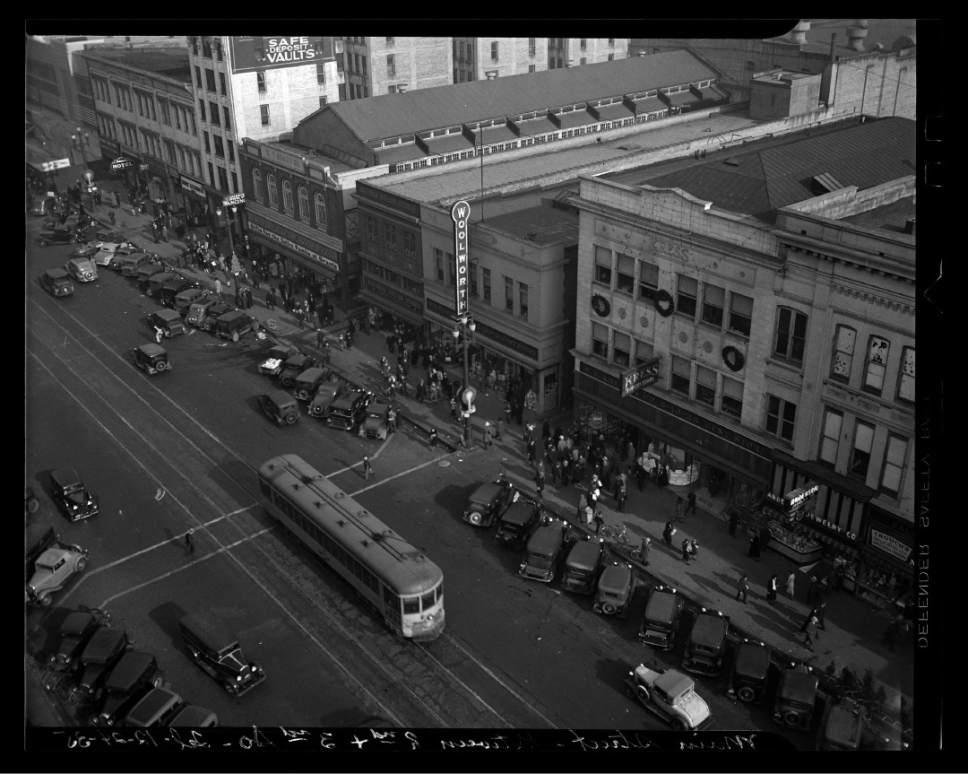 photo courtesy Utah Historical Society  Downtown Salt Lake City in 1935.