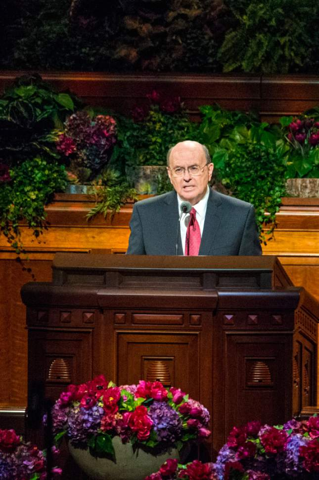 Chris Detrick  |  The Salt Lake Tribune Quentin L. Cook, Quorum of the Twelve Apostles, speaks during morning session of the 185th LDS General Conference at  the Conference Center in Salt Lake City Saturday October 3, 2015.