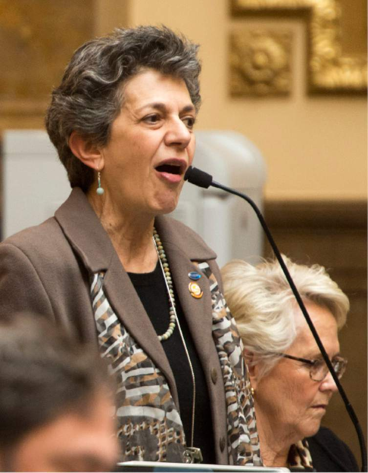 Rick Egan  |  The Salt Lake Tribune  Rep. Patrice Arent, criticizes spending $350,000 on bill HB207, at the Capitol, Friday, February 17, 2017.