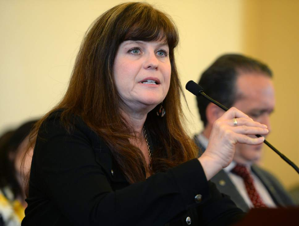 Steve Griffin  |  The Salt Lake Tribune   Michelle  McOmber, CEO of the Utah Medical Association, talks in favor of HB130 during the Senate Health and Human Services Standing Committee meeting at the State Capitol  in Salt Lake City Thursday February 16, 2017. HB130 would enact provisions related to research of cannabis and cannabinoid products.