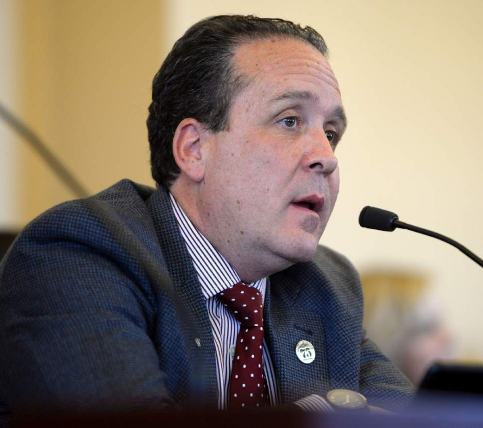 Steve Griffin  |  The Salt Lake Tribune   Rep. Brad Daw, R-Orem talks with the Senate Health and Human Services Standing Committee about HB130 during meeting at the State Capitol in Salt Lake City Thursday February 16, 2017. HB130 would enact provisions related to research of cannabis and cannabinoid products.