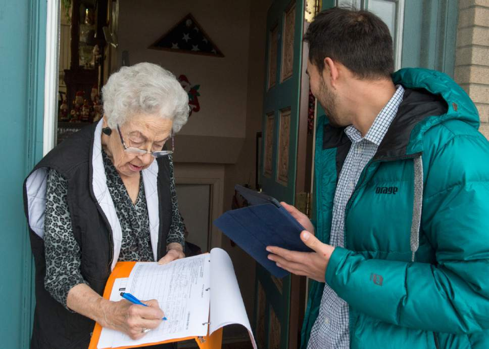 Rick Egan  |  Tribune file photo  Tanner Leatham gets a signature from Connie Swenson, for Sen. Curt Bramble, R-Provo, at her home in Provo in January.Bramble faced a June 28 primary challenge from Chris Herrod, which some believe was due to delegate backlash over SB54, which he sponsored.