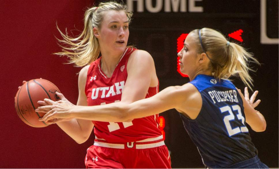 Rick Egan  |  The Salt Lake Tribune  Brigham Young Cougars guard Makenzi Pulsipher (23) guards Utah Utes guard Paige Crozon (14), in Basketball action, Brigham Young Cougars vs. the Utah Utes, Saturday, December 10, 2016.