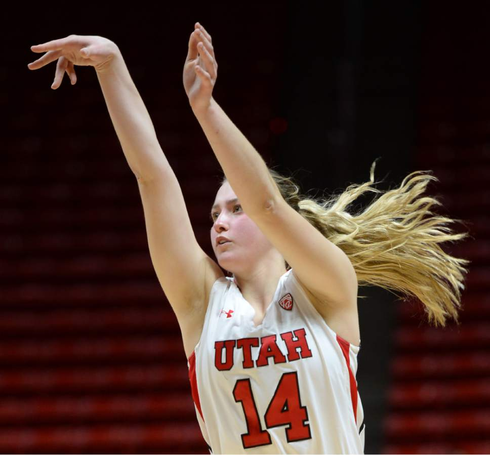 Steve Griffin  |  The Salt Lake Tribune  Utah Utes guard Paige Crozon (14) follows through on a three-point attempt during the Utah versus Idaho State women's basketball game at the Huntsman Center on the University of Utah campus in Salt Lake City, Wednesday, December 10, 2014.