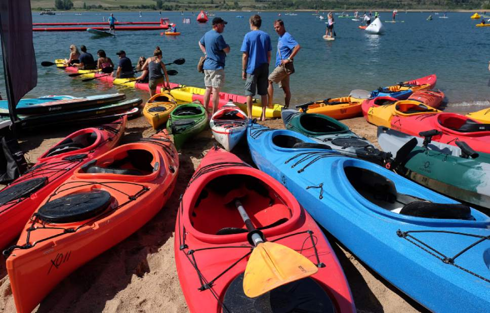 Francisco Kjolseth | The Salt Lake Tribune A snap together kayak makes for a long ride by Point 65˚N kayaks from Sweden at the Outdoor Retailer Summer Market kicks off with demo day at Pineview Reservoir's Cemetery Point in Huntsville on Tuesday, Aug. 4, 2015. Many of the manufacturers who will be at Summer Market use the opportunity to let retailers try their products, from paddle boards, canoes, kayaks and other water recreation gear.