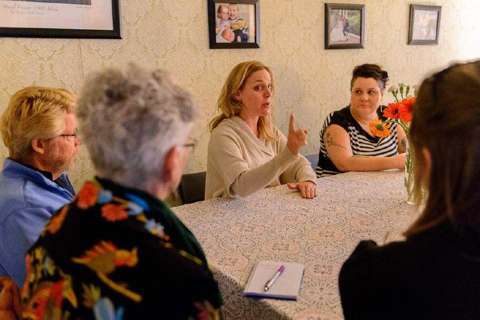 Trent Nelson  |  Tribune file photo Joanna Smith (center), founder of Utah Women Unite, at a meeting of the group in Salt Lake City, Thursday February 16, 2017.