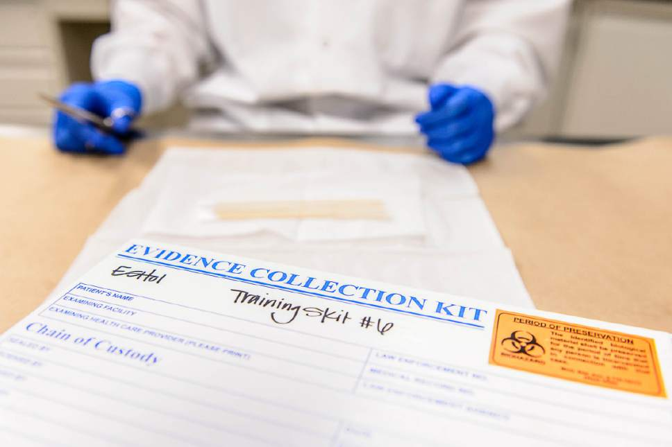 Trent Nelson  |  The Salt Lake Tribune An evidence collection kit (rape kit), used for training at Sorenson Forensics in Salt Lake City. Sorenson Forensics processes rape kits from across the country and has a consulting contract with the Utah state crime lab.
