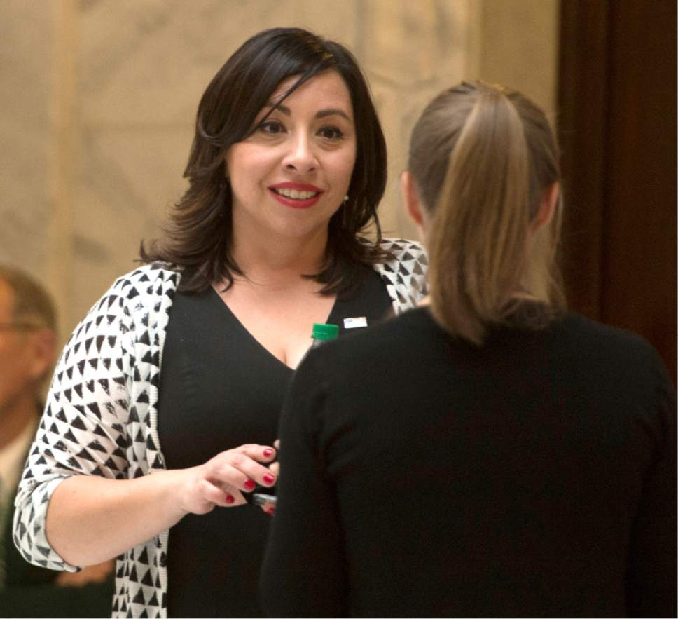 Rick Egan  |  The Salt Lake Tribune  Rep. Angela Romero visits outside the house, after HB 200, the Sexual Assault Kit Processing bill was passed on the floor of the house, at the Capitol, Friday, February 17, 2017.