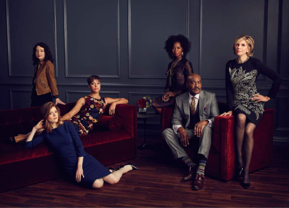 "Sarah Steele as Marissa Gold, Rose Leslie as Maia Rindell, Cush Jumbo as Lucca Quinn, Erica Tazel as Barbara Kolstad, Delroy Lindo as Adrian Boseman and Christine Baranski as Diane Lockhart in ""The Good Fight."" Courtesy  