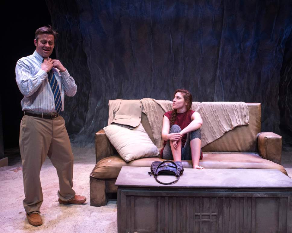 "Rick Egan  |  The Salt Lake Tribune  Mathew Sincell and Natalia Noble, in Kathleen Cahill's  ""Harbur Gate,"" making  its world premiere at Salt Lake Acting Company."