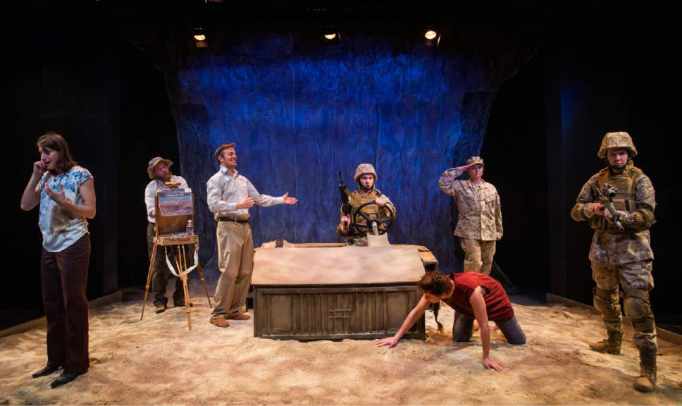 "Rick Egan  |  The Salt Lake Tribune  Ariana Broumas, Farber, Lane Richins, Mathwe Sincell, Topher Rasmussen Natalia Noble, Cece Otto, and Cassandra Stokes-Wylie, in Kathleen Cahill's  ""Harbur Gate,"" making  its world premiere at Salt Lake Acting Company."