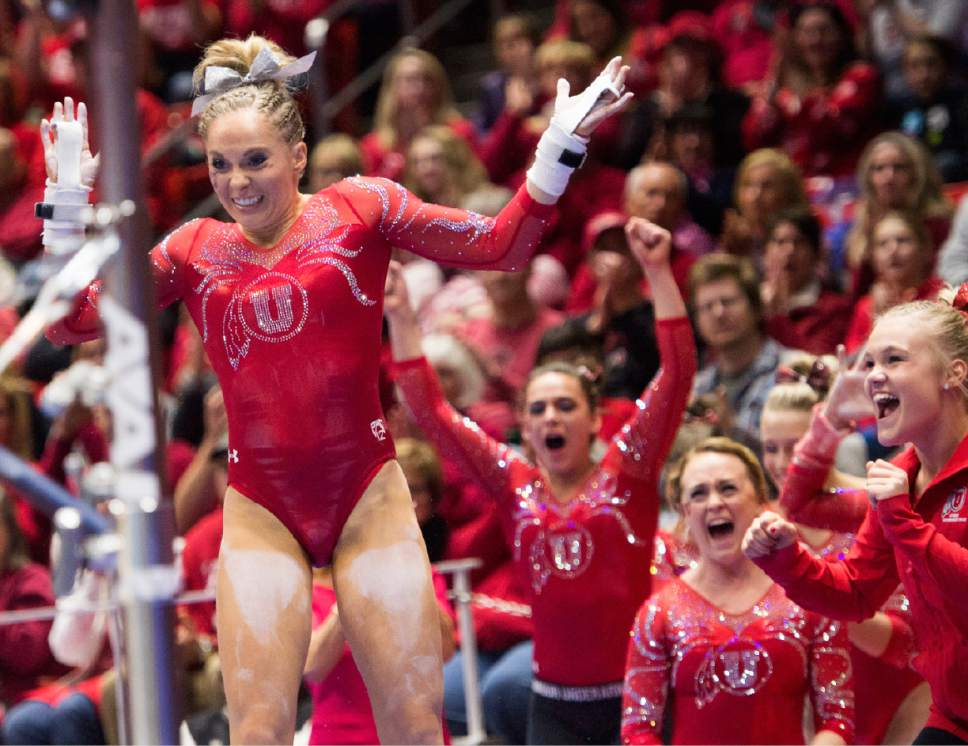 Rick Egan  |  The Salt Lake Tribune  MyKayla Skinner reacts after her bars routine, for the Utes, in gymnastics action, Utah vs UCLA, at the Huntsman Center, Saturday, February 18, 2017.