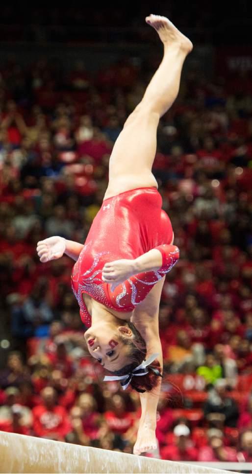 Rick Egan  |  The Salt Lake Tribune  Kari Lee competes on the beam for the Utes, in gymnastics action, Utah vs UCLA, at the Huntsman Center, Saturday, February 18, 2017.