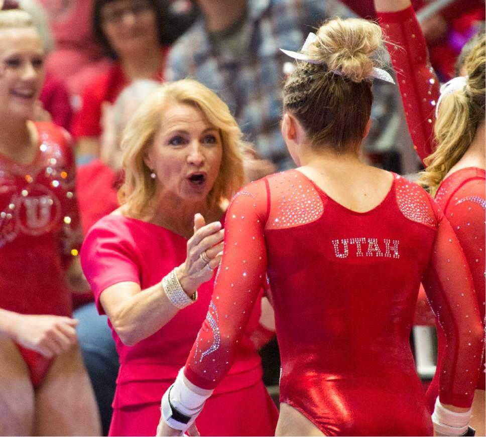 Rick Egan  |  The Salt Lake Tribune  Megan Marsden reacts as MyKayla Skinner finishes her bars routine, for the Utes, in gymnastics action, Utah vs UCLA, at the Huntsman Center, Saturday, February 18, 2017.