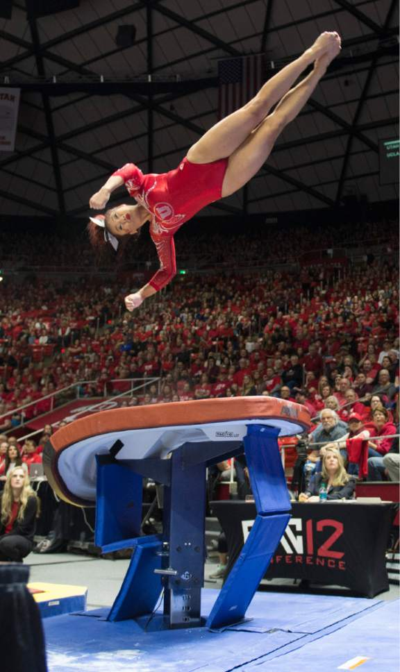 Rick Egan  |  The Salt Lake Tribune  Kari Lee competes on the vault for the Utes, in gymnastics action, Utah vs UCLA, at the Huntsman Center, Saturday, February 18, 2017.