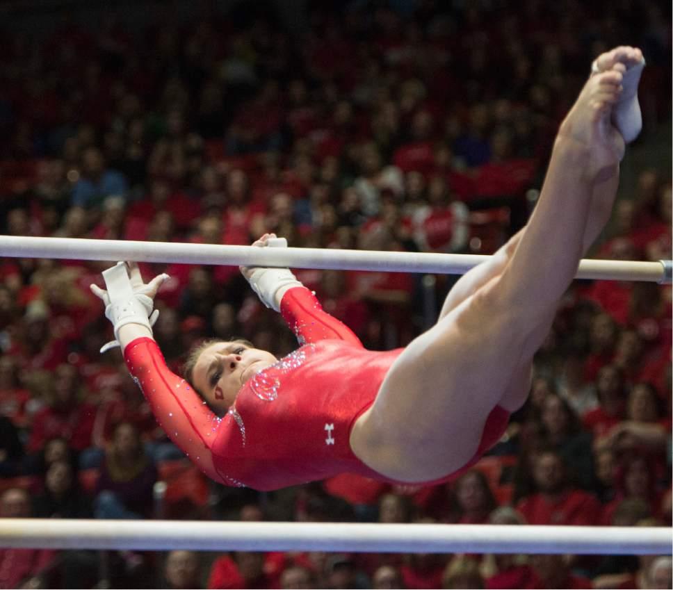 Rick Egan  |  The Salt Lake Tribune  Missy Reintsadtler competes on the bars for the Utes, in gymnastics action, Utah vs UCLA, at the Huntsman Center, Saturday, February 18, 2017.