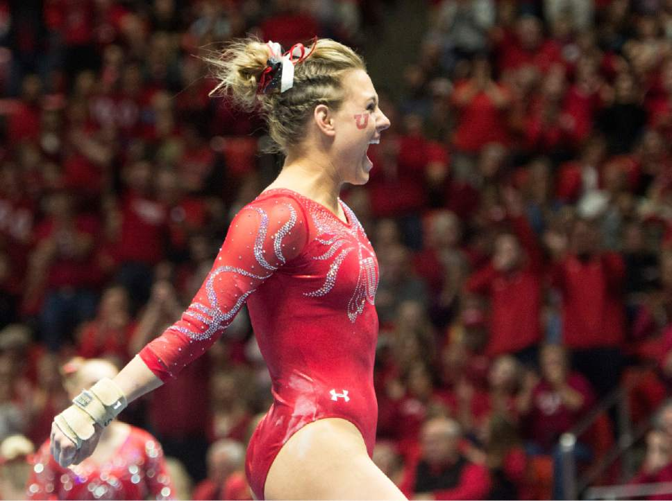 Rick Egan  |  The Salt Lake Tribune  Tiffani Lewis reacts after her performance on the floor for the Utes, in gymnastics action, Utah vs UCLA, at the Huntsman Center, Saturday, February 18, 2017.