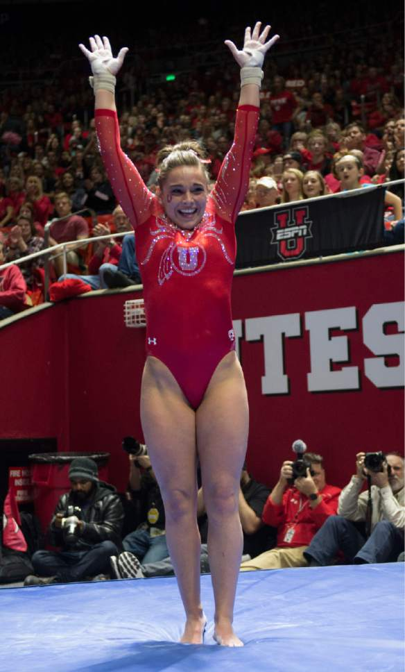 Rick Egan  |  The Salt Lake Tribune  Macey Roberts reacts after vault for the Utes, in gymnastics action, Utah vs UCLA, at the Huntsman Center, Saturday, February 18, 2017.