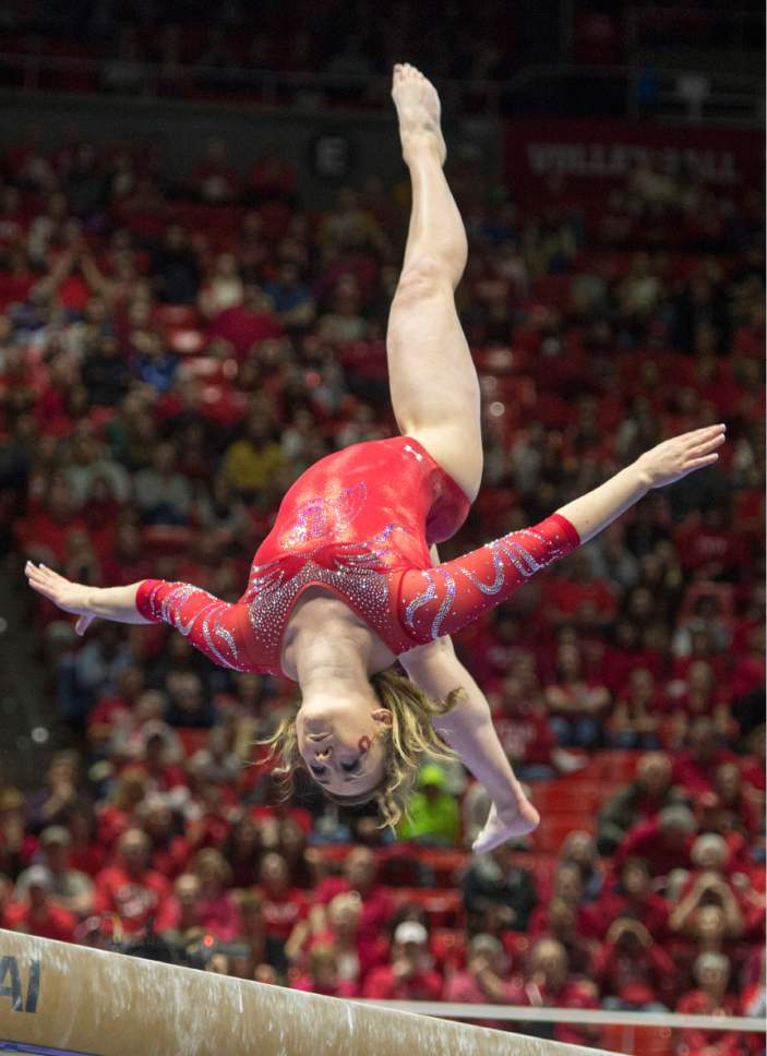 Rick Egan  |  The Salt Lake Tribune  Maddy Stover performs on the beam for the Utes, in gymnastics action, Utah vs UCLA, at the Huntsman Center, Saturday, February 18, 2017.